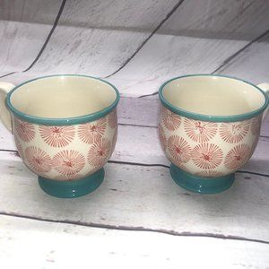 two PIONEER WOMAN Pedestal Flower Mugs